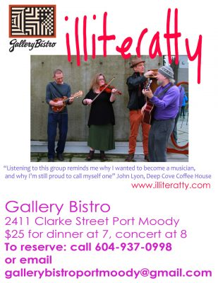 Illiteratty at Gallery Bistro, Port Moody @ Gallery Bistro | Port Moody | British Columbia | Canada